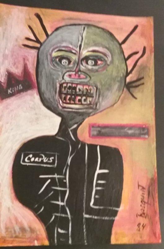 Jean M Basquiat NY Art Painting Signed