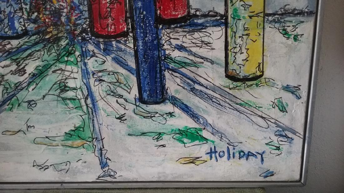 Original signed Holiday Acrylic on Canvas Painting - 2