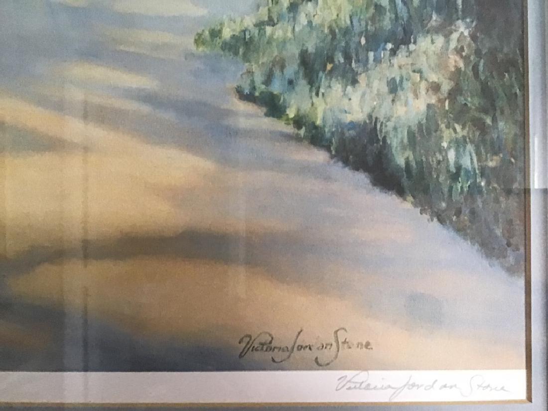 Dock/ Sailboat Landscaping Print Signed Jacqueline Penn - 2
