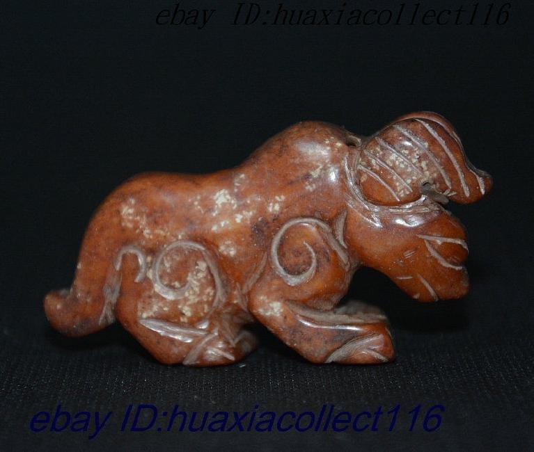 Natural Jade Hand-Carved Dragon Beast Kirin Statue - 2