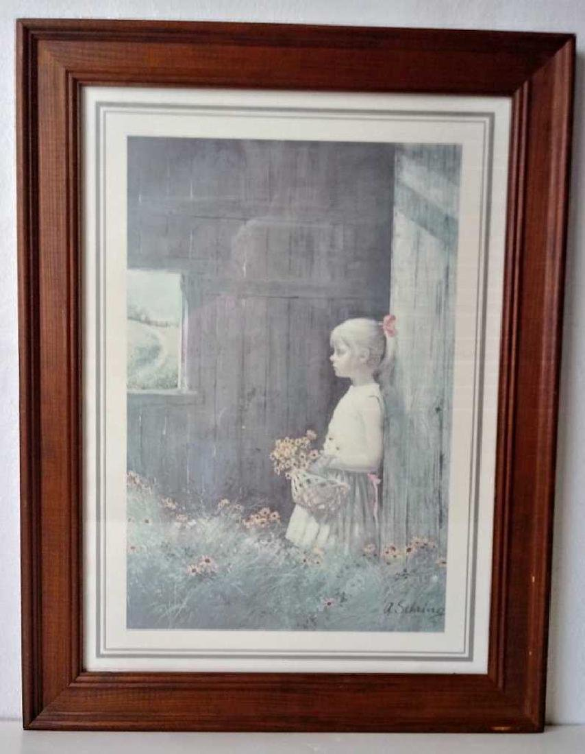 Antique Wood Frame Print W/Glass
