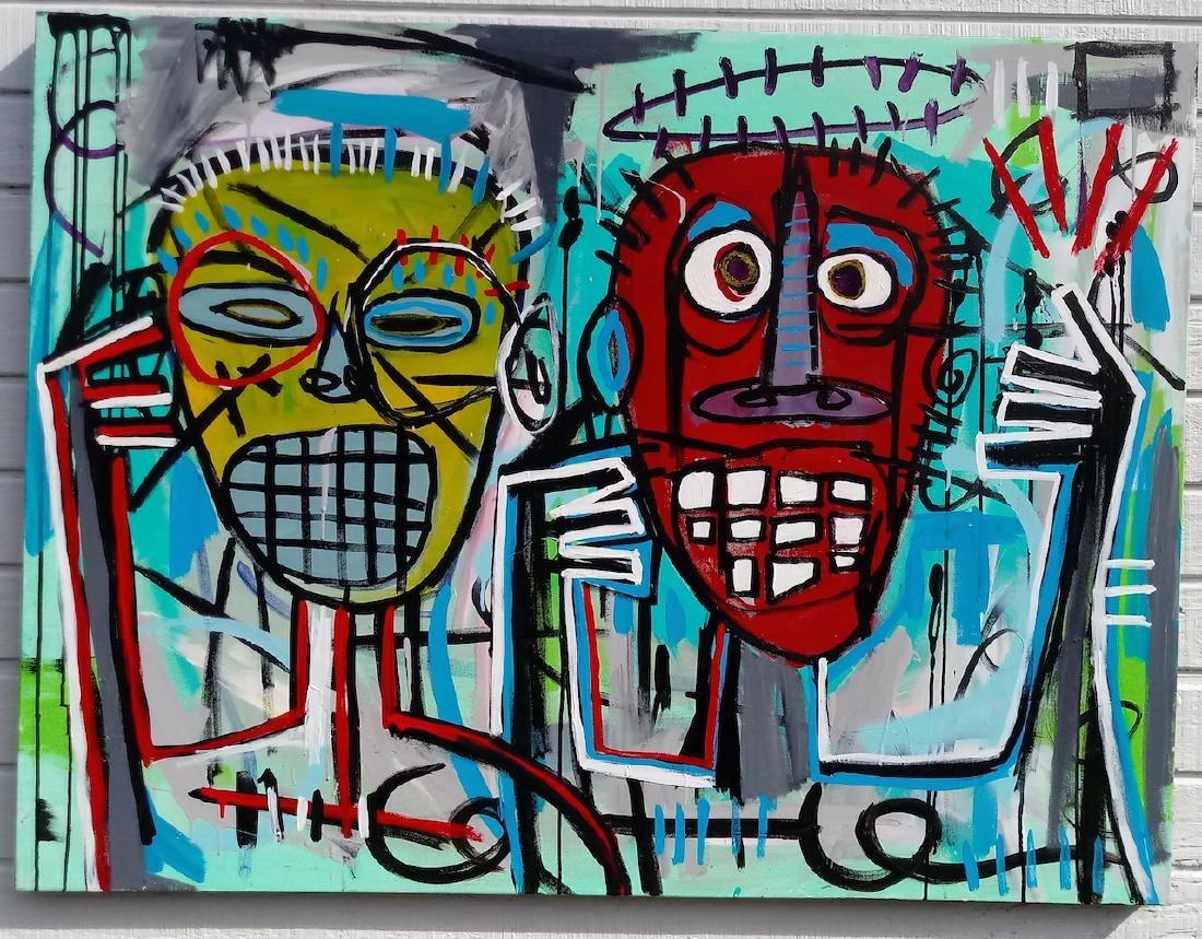 Jean-Michel Basquiat (Style of) N.Y Street Art Painting