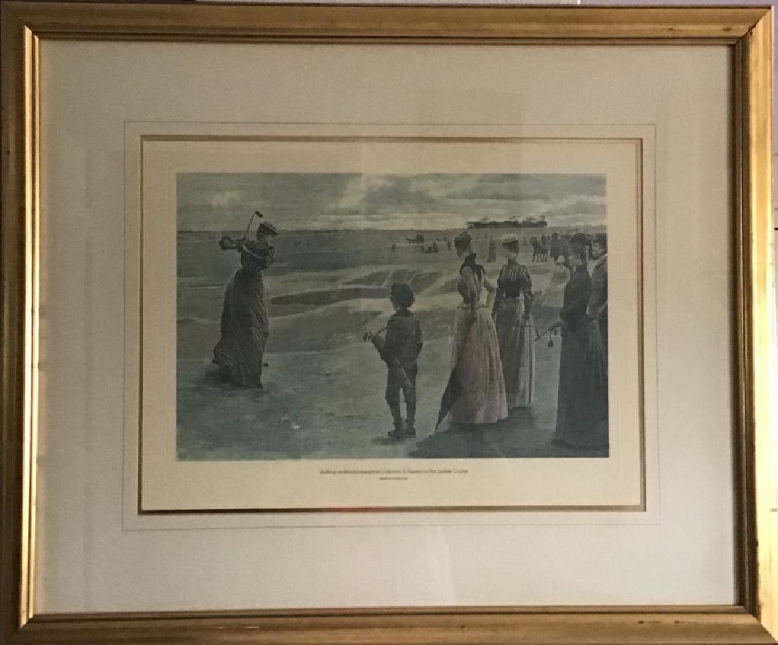 "Engraving Signed.Title ""A Hazard on The Ladies Course"""