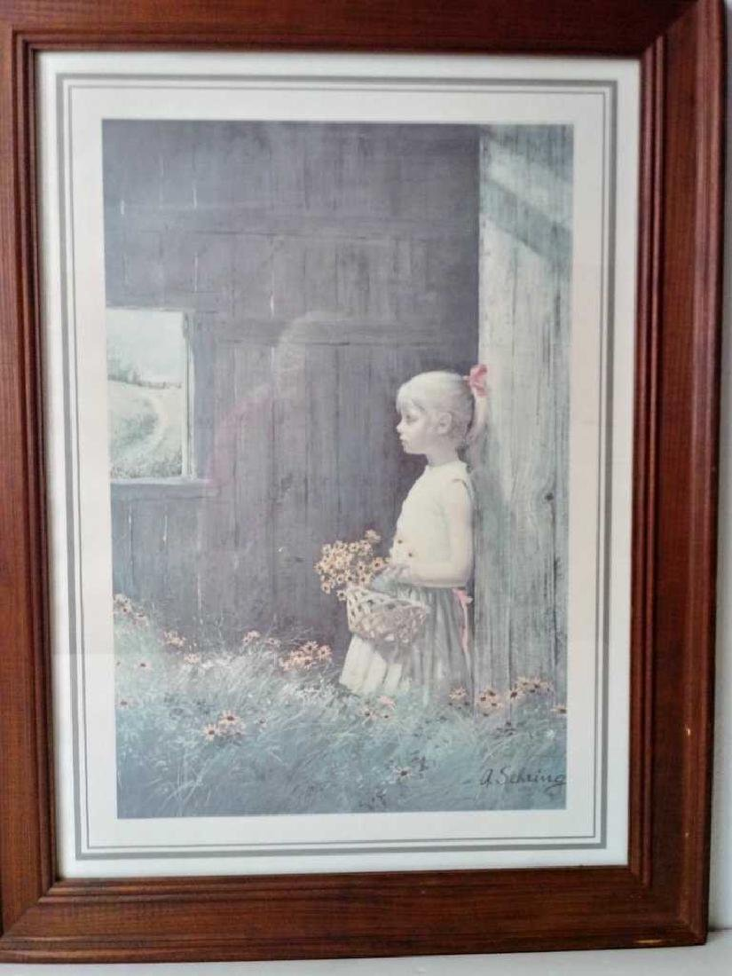 Antique Wood Frame Print W/Glass - 2