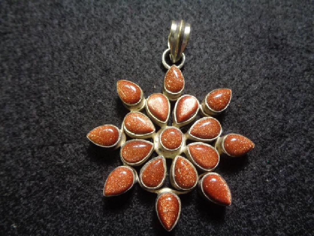 Vintage 929 Silver Gold Stone Pendant