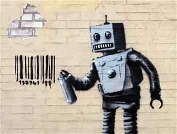 Banksy Robot Art Print onThick Paper