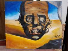 SALVADOR DALI PAINTING OIL ON CANVAS SIGNED AND STAMPED