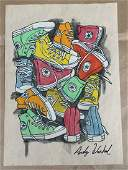 ANDY WARHOL DRAWING ON PAPER SIGNED  STAMPED