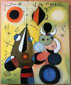 JOAN MIRO OIL PAINTING ON CANVAS SIGNED