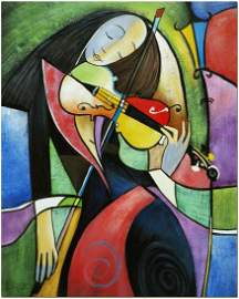 The Fiddler Cubist Oil Painting On Canvas Violin Art