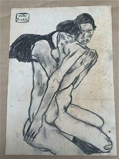 EGON SCHIELE DRAWING ON PAPER SIGNED AND STAMPED