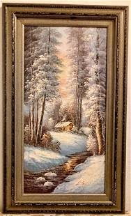 Original Painting Winter Landscaping Sign on Canvas
