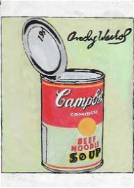 Andy Warhol DRAWING ON PAPER SIGNED AND STAMPED