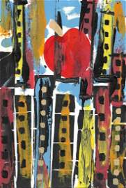 Abstract New York Surreal Painting.Signed