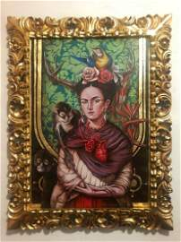 Frida Kahlo Mexican Modernist Oil on Canvas
