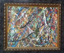 Jackson Pollock After. Framed Abstract Painting