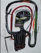 Jean Micheal Basquiat Mixed Media Painting