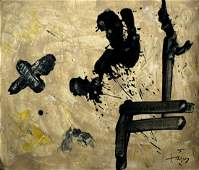 Tàpies Modern art abstract oil on canvas signed