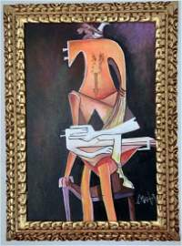 WIFREDO LAM PAINTING OIL ON CANVAS
