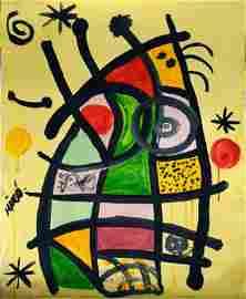 Joan Miro Modern art  abstract oil on canvas signed