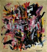 Abstract Canvas Signed Michel West, Modern Old 20th Cen