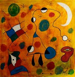 Abstract Painting Signed Miro, Modern Art