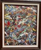 Jackson Pollock Framed Contemporary Abstract Painting o