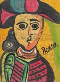 Mixed Media Pablo Picasso Drawing on Paper Music Notes