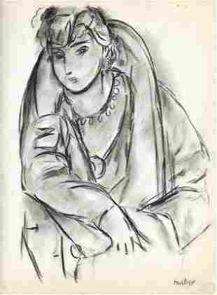 HENRI MATISSE DRAWINGS ON PAPER SIGNED AND SEAL