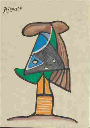 Signed Picasso Mixed Media on Paper