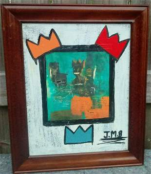 Jean Micheal Basquiat Abstract mix media