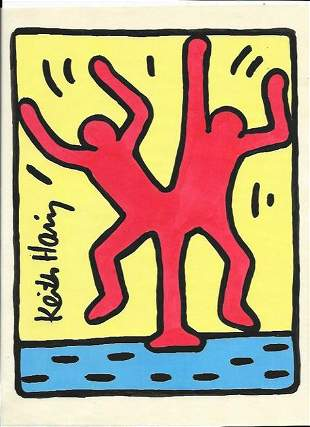 Signed Keith Haring Mixed Media on Paper