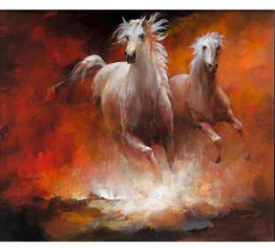 2 Horses Hand-painted on canvas