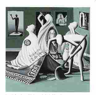 Kalev Mark Kostabi Print on Thick Paper.