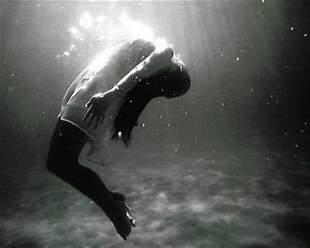 Rare Black and White Underwater Women Photo