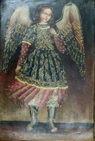 Peruvian Cusco Folk Art Oil Painting on Canvas