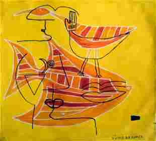 Victor Brauner Abstract Painting Signed