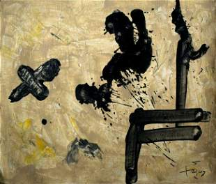 Modern abstract oil on canvas signed Antoni Tapiz