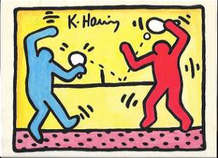 Keith Haring Mix Media Drawing Signed