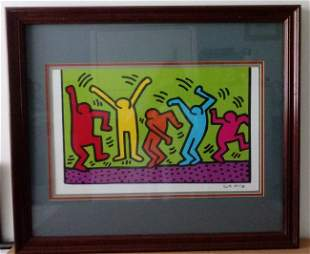 Keith Haring Print Framed w/ glass