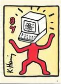 Keith Haring Mix Media Drawing Signed