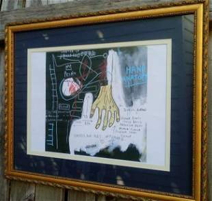 Jean Micheal Basquiat Drawing on Paper Framed