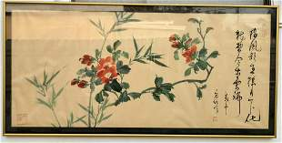 Chinese Bird' Painting on Silk Paper 'Flowers'