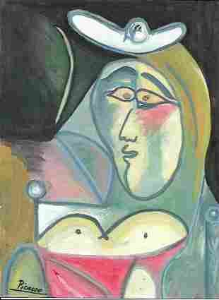 Mixed Media Pablo Picasso on Thick Paper
