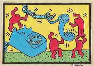 Keith Haring Mixed Media Drawing