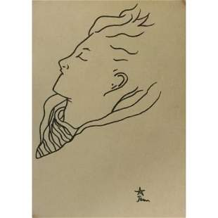 Jean Cocteau Mixed Media Drawing on Paper