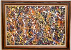 Jackson Pollock Abstract Painting on Cardboard -Approx