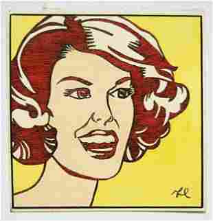 In The Style of Roy Lichtenstein small drawing. Size: 5
