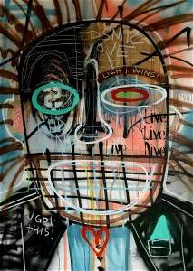 Jean Micheal Basquiat Style Abstract Graffiti ON Canvas