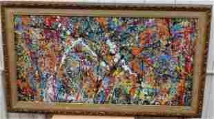 Jackson Pollock Abstract Painting on Cardboard with
